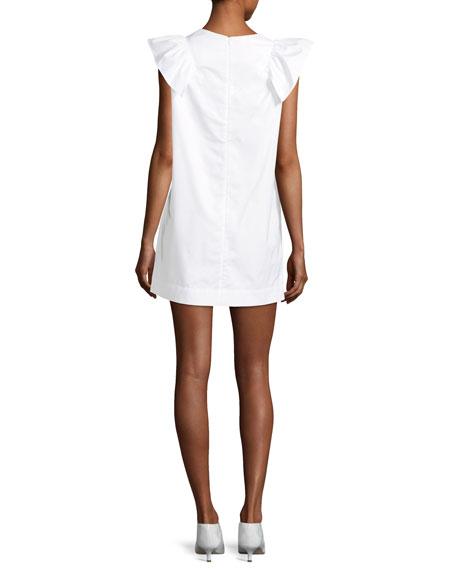 High-Neck Sleeveless Poplin Shift Dress w/ Ruffled Frill