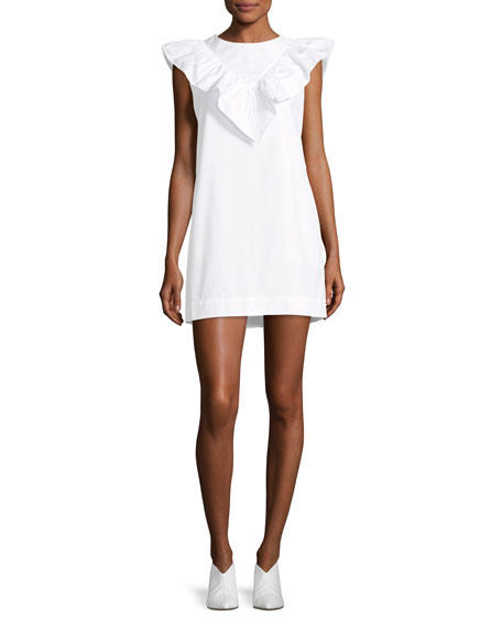 Atlantique Ascoli High-Neck Sleeveless Poplin Shift Dress w/