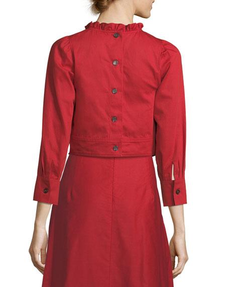Samedi Ruffled-Collar Button-Back Cotton-Linen Blouse