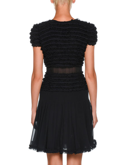 Cap-Sleeve Ruffled Georgette Short Cocktail Dress