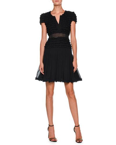 Cap-Sleeve Ruffled Georgette Short Cocktail Dress