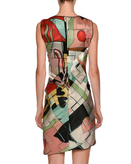 Abstract-Print High-Neck Sleeveless Ruched Dress