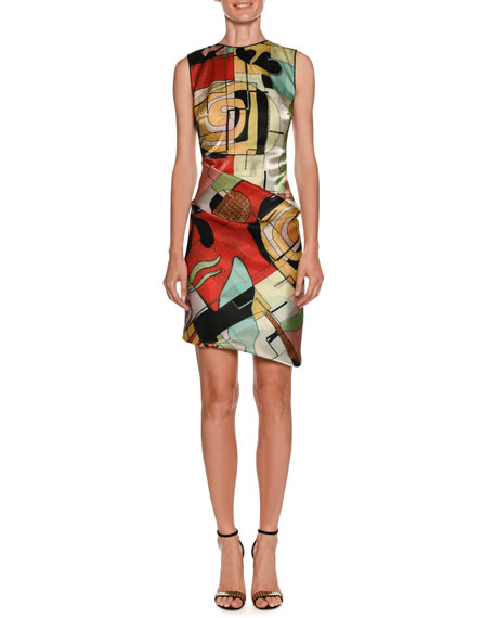 Giorgio Armani Abstract-Print High-Neck Sleeveless Ruched Dress