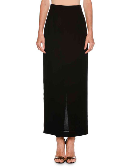 Long Straight Crepe Skirt w/ Back Vent