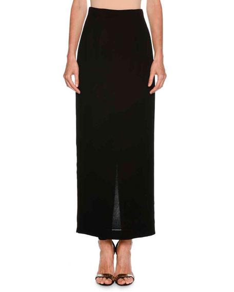 Long Straight Crepe Skirt w/ Back Vent