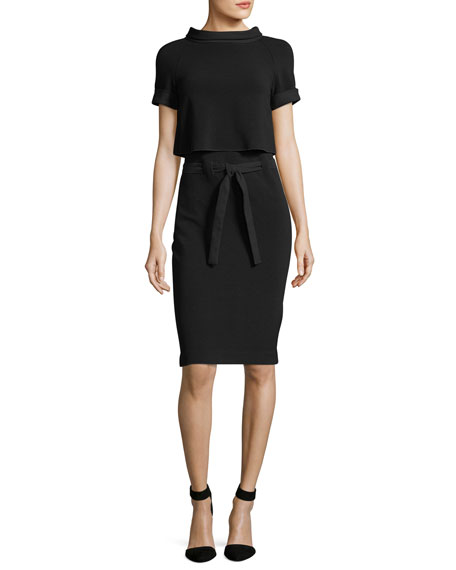Emporio Armani Ottoman Rib Short-Sleeve Sheath Dress