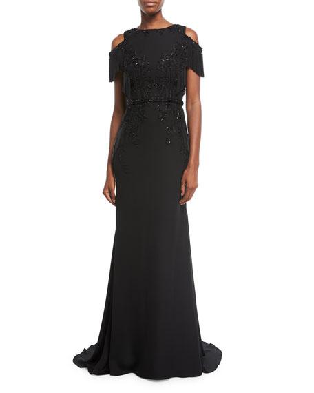 Pamella Roland Embellished Cold-Shoulder Georgette Evening Gown