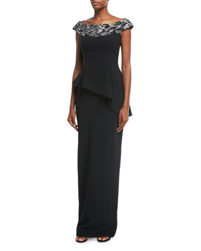 Embellished Off-the-Shoulder Stretch Crepe Evening Gown
