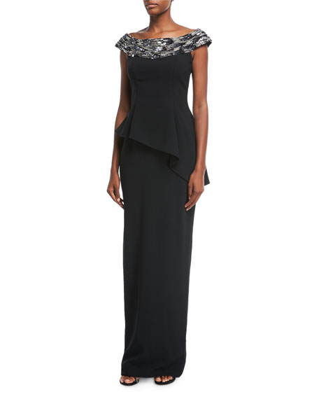 Pamella Roland Embellished Off-the-Shoulder Stretch Crepe Evening