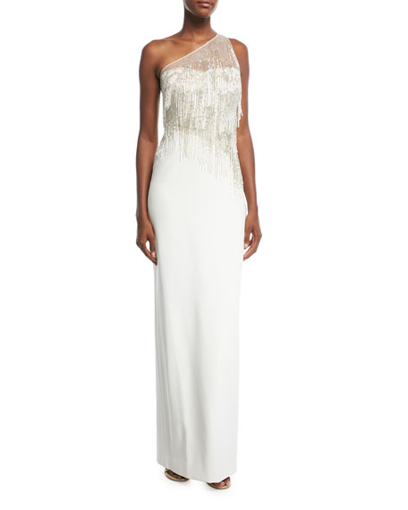 One-Shoulder Stretch-Crepe Evening Gown with Beaded Fringe