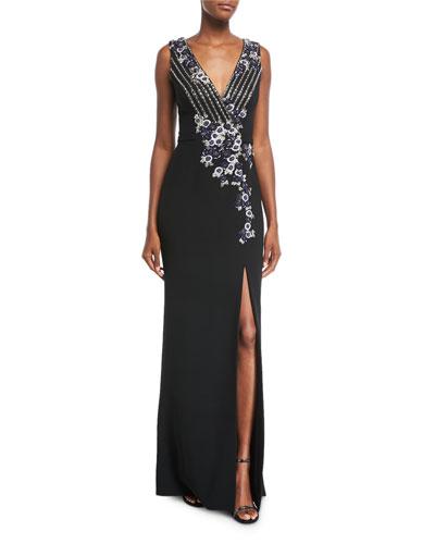 Deep V Sleeveless Stretch-Crepe Evening Gown with Metallic Sequins