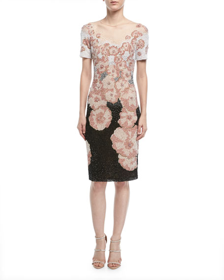 Pamella Roland Short-Sleeve Multi-Floral Beaded Sequin Cocktail