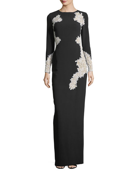 Stretch-Crepe Long-Sleeve Evening Gown with Lace Cutwork