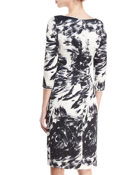 3/4-Sleeves Scoop-Neck Matelassé Printed Dress