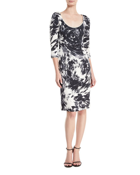 NAEEM KHAN 3/4-Sleeves Scoop-Neck Matelasse Printed Dress in Black/White