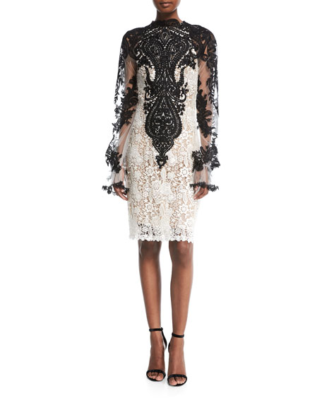 Naeem Khan High-Neck Long-Sleeve Knee-Length Lace Cocktail Dress