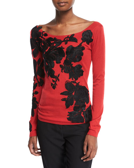 Boat-Neck Lightweight Cashmere Sweater w/ Lace Overlay