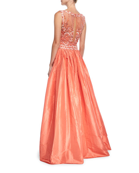 High-Neck Sleeveless Beaded-Bodice Evening Gown