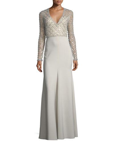V-Neck Long-Sleeve Beaded Top Crepe Skirt Evening Gown