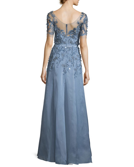 Short-Sleeve 3-D Floral Embroidered Evening Gown