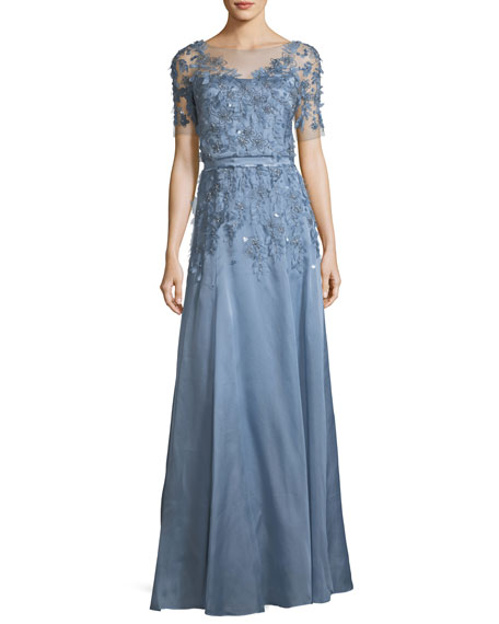 Jenny Packham Short-Sleeve 3-D Floral Embroidered Evening Gown
