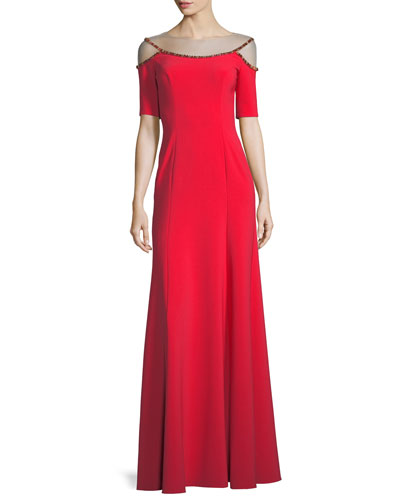 Short-Sleeve A-Line Evening Gown with Jeweled Beading