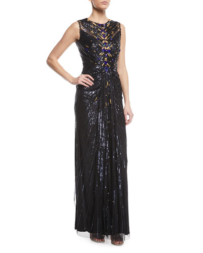Sleeveless Sequin Column Evening Gown w/ Golden Embellishments