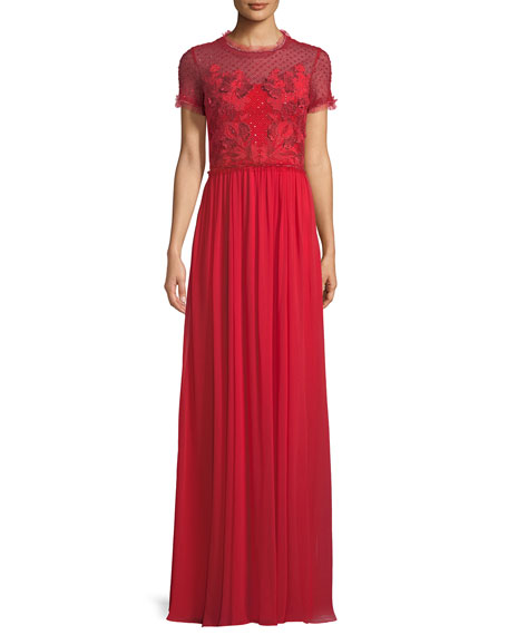 Jenny Packham Short-Sleeve Round-Neck Lace & Sequin Top