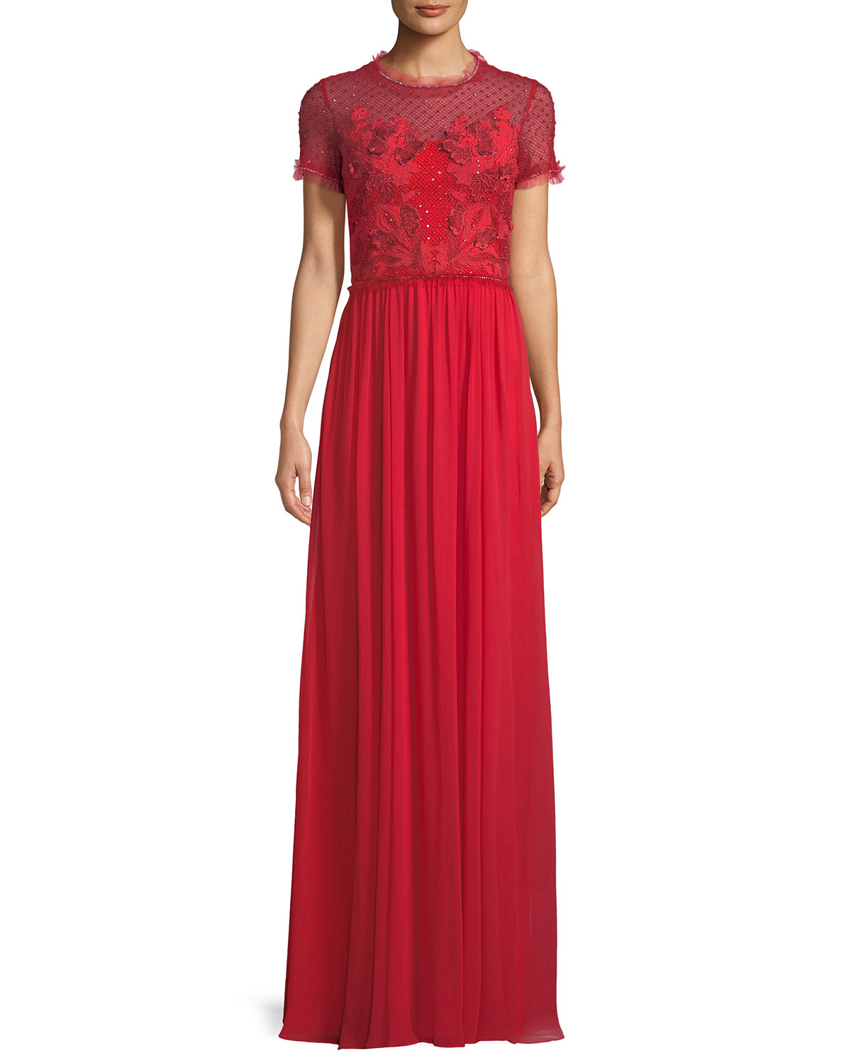 ae54e30a210a33 Jenny Packham Short-Sleeve Round-Neck Lace & Sequin Top Evening Gown ...