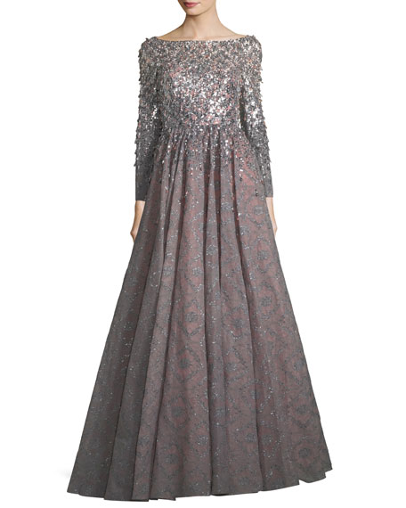 Long-Sleeve Sequined Bonded Lace Full-Skirt Evening Gown