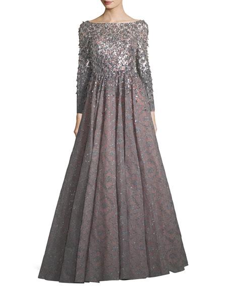 Jenny Packham Long-Sleeve Sequined Bonded Lace Full-Skirt Evening