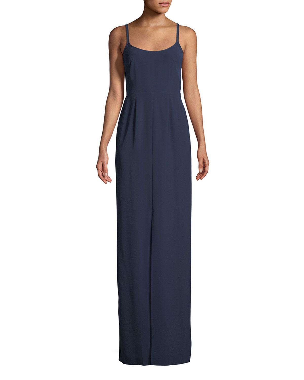 Jenny Packham Scoop Neck Sleeveless Column Slip Evening Gown