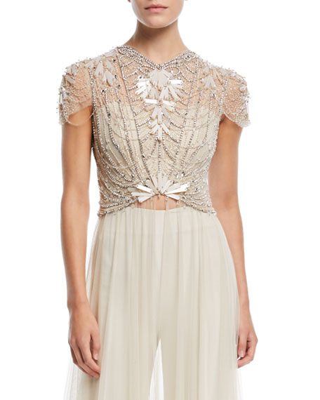 Jenny Packham Cap-Sleeve Crystal-Beaded Top with Long Tulle