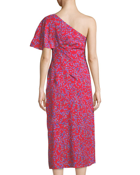 One-Shoulder Floral-Print Textured Silk Dress