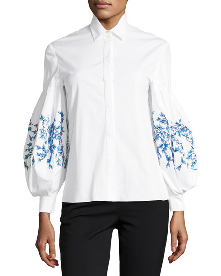 Button-Front Embroidered Balloon-Sleeves Poplin Blouse