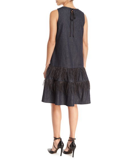 Sleeveless A-Line Denim Dress with Ostrich Feathers