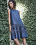 Image 2 of 3: Sleeveless A-Line Denim Dress with Ostrich Feathers