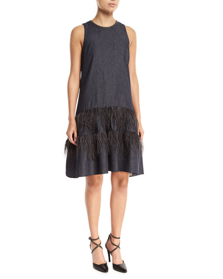 Brunello Cucinelli Sleeveless A-Line Denim Dress with Ostrich