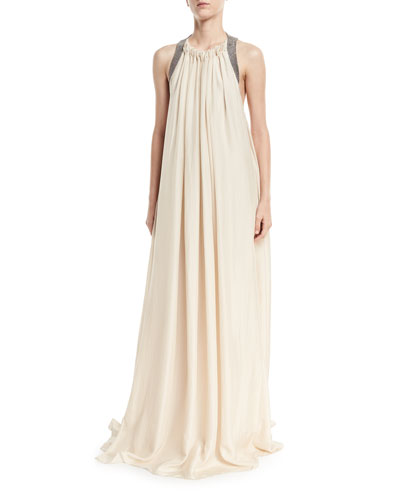Crinkled Silk Sleeveless Gown with Monili Back Detail