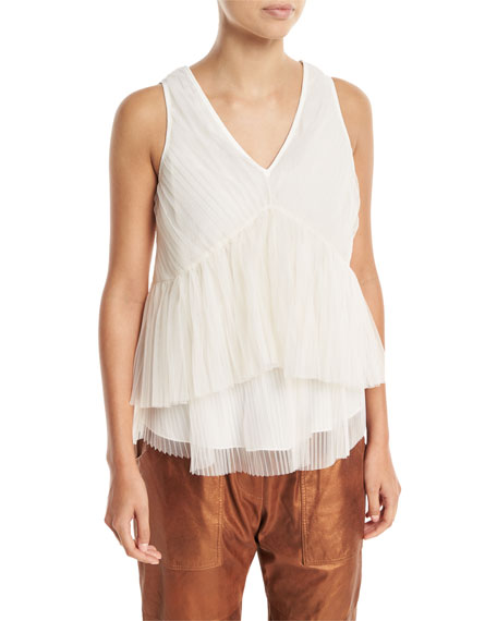 Brunello Cucinelli Tulle Pleated Sleeveless V-Neck Top