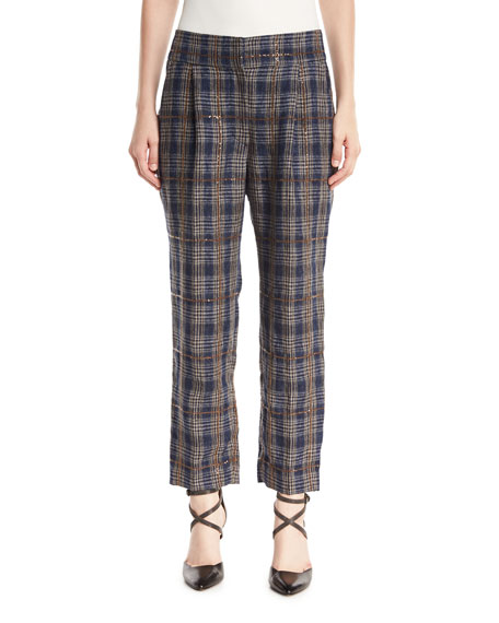 Brunello Cucinelli Prince of Wales Check Straight-Leg Linen