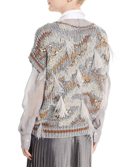 Waxed Cotton-Linen Cap-Sleeve Flame-Tribal Pattern Pullover Sweater