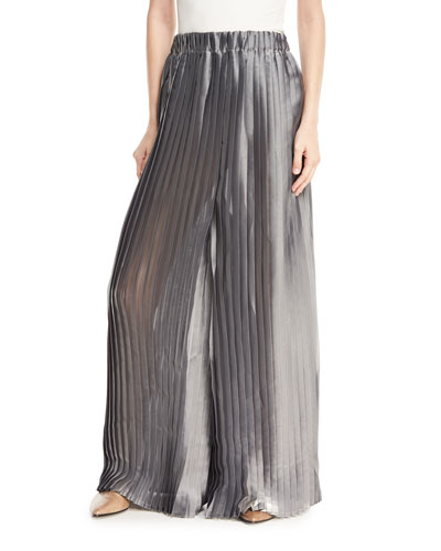 Lamé Pleated Wide-Leg Pants