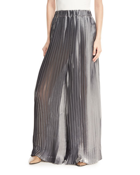 Metallic Pleated Wide-Leg Pants