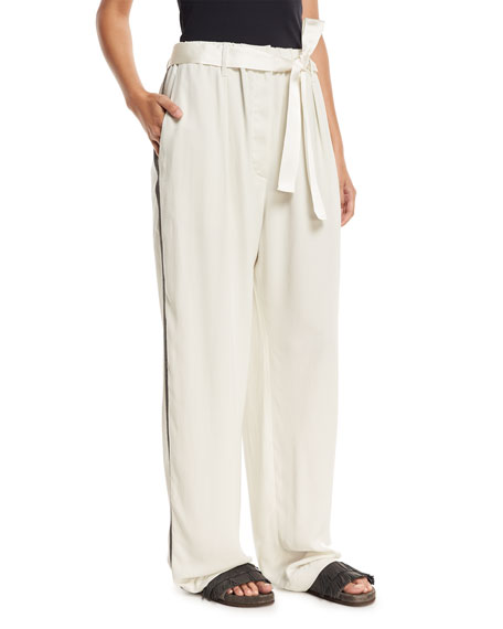 Brunello Cucinelli Wide-Leg Belted Pants with Monili Track