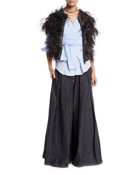 Wide-Leg Denim Skirt-Pants