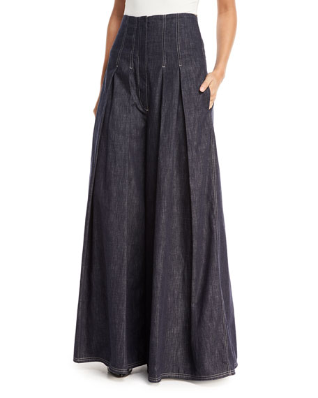 Brunello Cucinelli Wide-Leg Denim Skirt-Pants