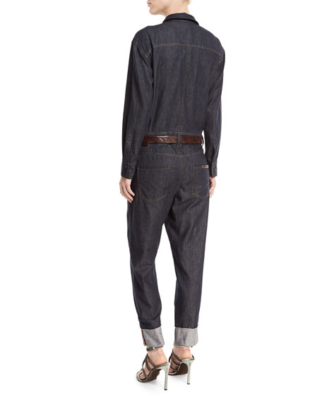 Button-Front Long-Sleeve Denim Jumpsuit