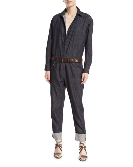 Brunello Cucinelli Button-Front Long-Sleeve Denim Jumpsuit