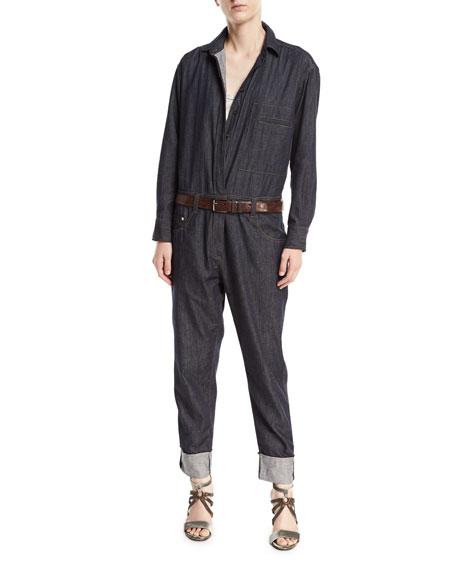 Brunello Cucinelli Button-Front Long-Sleeve Denim Jumpsuit